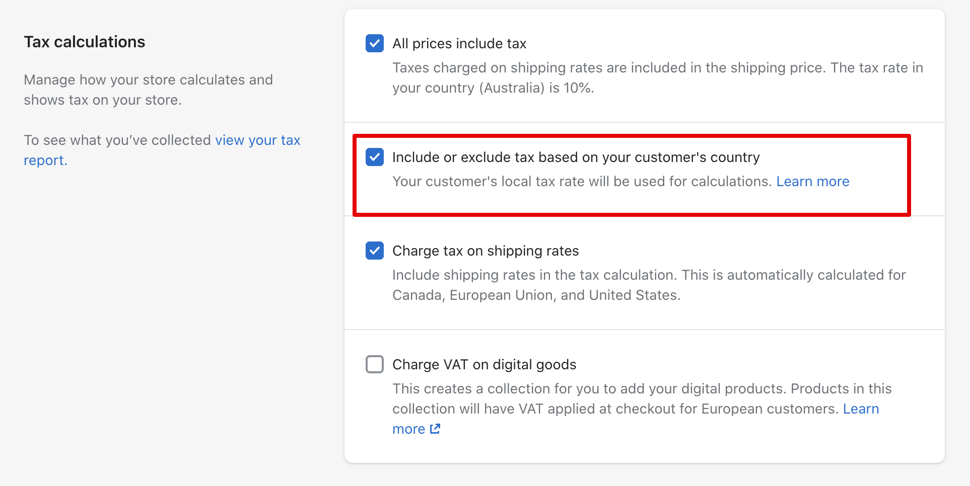 screenshot of the Include or exclude tax based on your customer's country setting