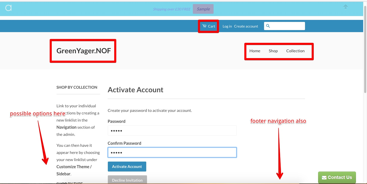 Shop customer account create/ - In Both These Images You Can See The Options That Are Available To The Customer To Further Navigate The Store Once Done Creating The Account
