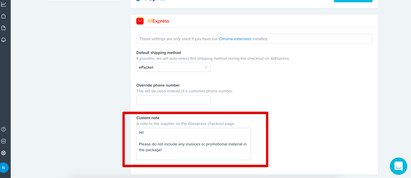 app with a shopify store to order your products from aliexpress you can even include a message to the supplier to not include a packing slip like so